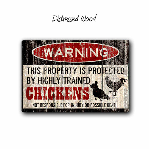Funny Chicken Warning sign - Distressed Wood Style | Blue fox Gifts