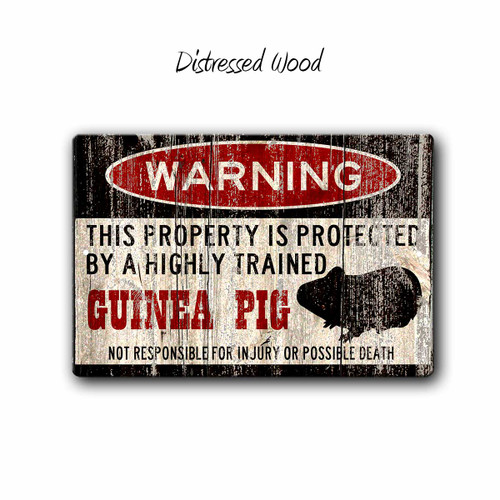 Funny Guinea Pig Warning sign - Distressed Wood Style | Blue fox Gifts