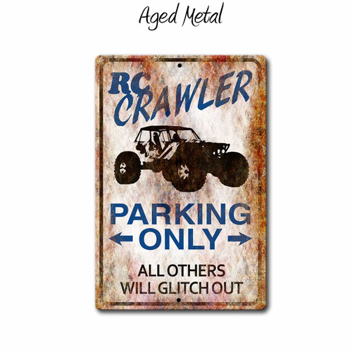 Remote Control Scale Crawler Parking Sign - Aged Metal Style | Blue Fox Gifts