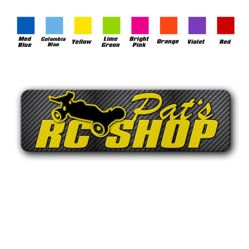 Personalized RC Shop sign in Yellow with color chart | Blue Fox Gifts