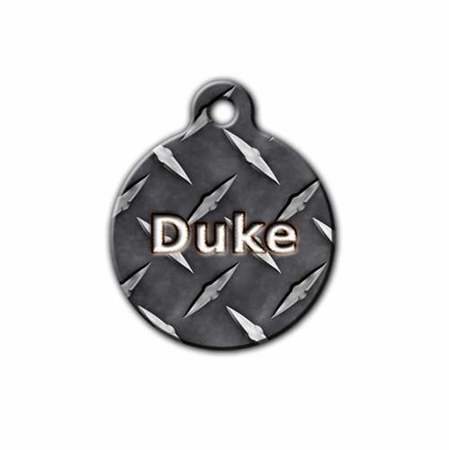 Personalized Diamondplate Pet Tag | Blue Fox gifts