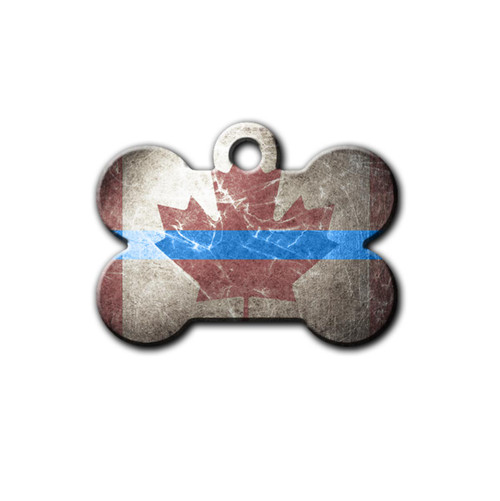 Canada Thin Blue Line Colored pet tag | Blue fox gifts