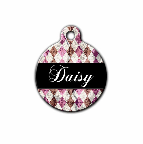 Distress Plaid Pet tag, Front | Blue Fox Gifts