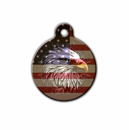 Patriotic, American flag and eagle Pet tag, Front | Blue Fox Gifts