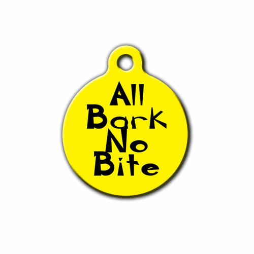 All Bark No Bite Dog ID Tag, Front | Blue Fox Gifts