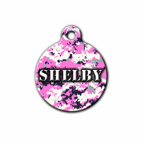 Pink Digital Camo Dog ID Tag, Front | Blue Fox Gifts