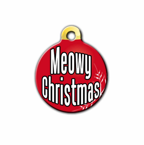 Meowy Christmas Pet ID Tag, Red, Front | Blue Fox Gifts