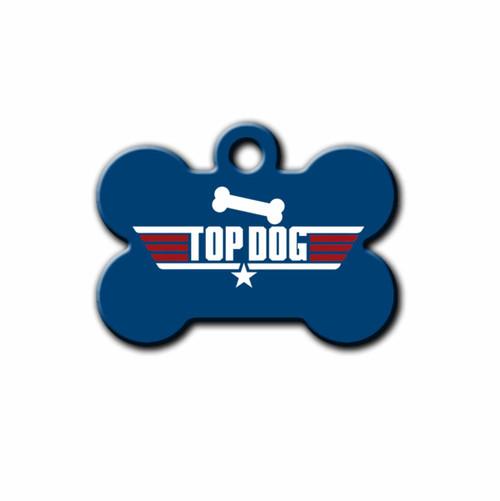 Top Dog, Blue Bone Shaped Pet ID Tag   Blue Fox Gifts