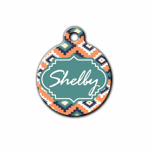Aztec styled aluminum pet ID Tag, Front | Blue Fox Gifts