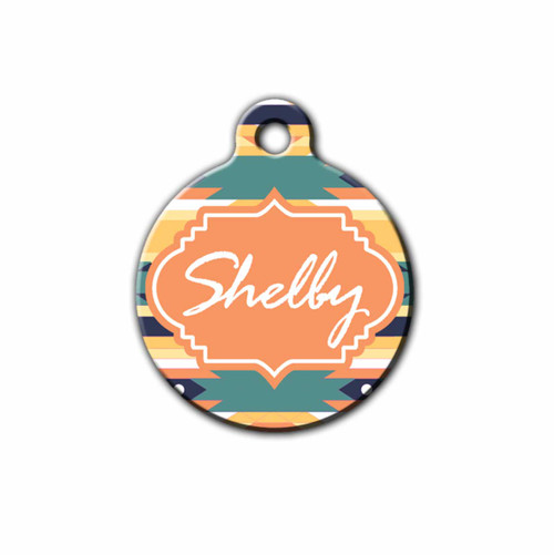Orange Aztec design Pet tag with the pets name on front | Blue Fox Gifts