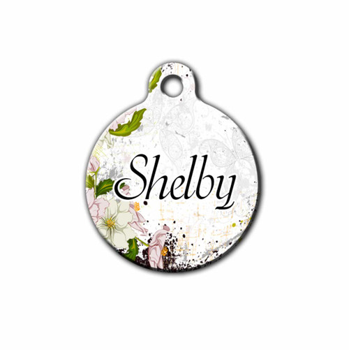 Round Floral Pet tag with name on the front | Blue Fox Gifts