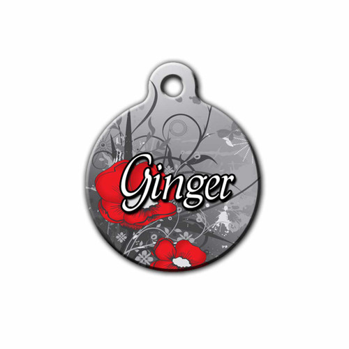 Gothic Floral Design Pet Tag, Front | Blue Fox Gifts