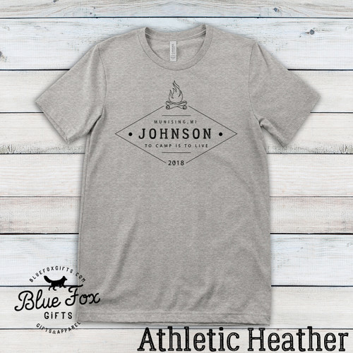 Personalized Vintage Family Camping Shirt, Athletic Grey   Blue Fox Gifts