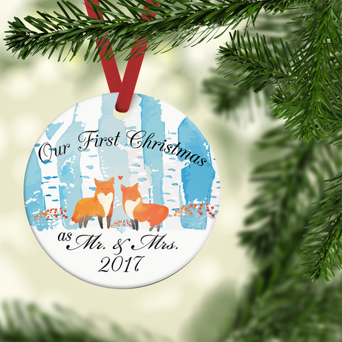 Our First Christmas as Mr and Mrs Porcelain Ornament | Blue Fox Gifts