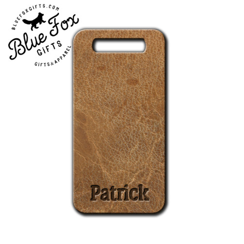 Personalized Faux Leather Luggage Tag, Front |  Blue Fox Gifts