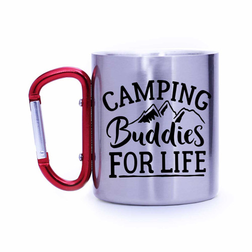 Camping Buddies for Life, Stainless Carabiner Camp Mug   Blue Fox Gifts