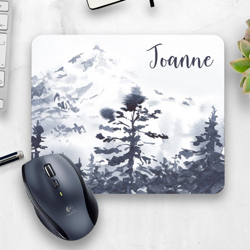 Blue Mountain Watercolor Mouse Pad, Cropped Image | Blue Fox Gifts