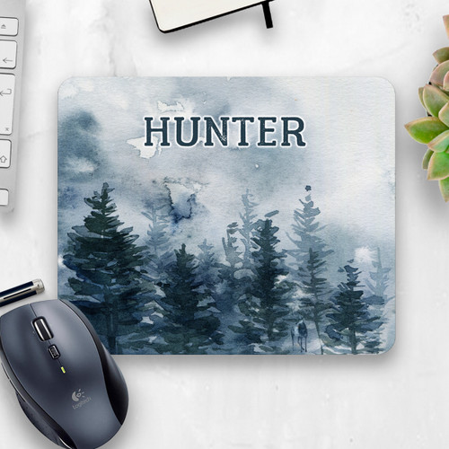 Blue Forest Watercolor Mouse Pad, Cropped Image | Blue Fox Gifts