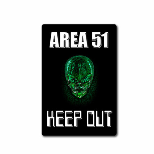 Area 51 Keep Out Green Alien Skull | Blue Fox Gifts