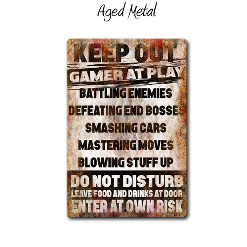 Keep Out Gamer at play metal sign, Aged Metal Style | Blue Fox Gifts