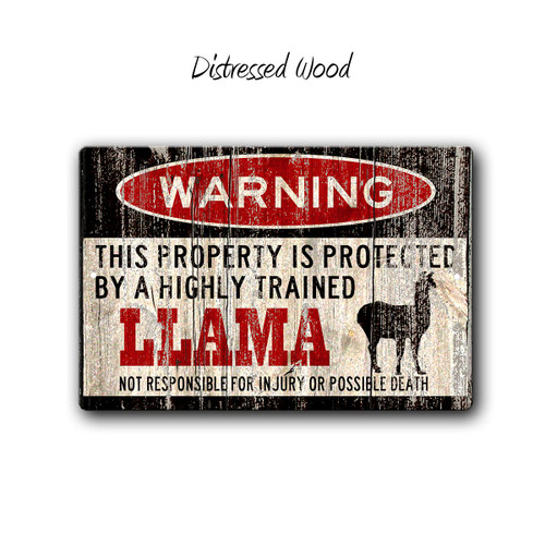 Warning, Protected by a Llama metal Sign, Distressed Wood Style | Blue Fox Gifts