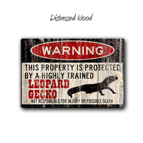 Warning, Protected By Leopard Gecko Metal Sign, Distressed Wood Style | Blue Fox Gifts