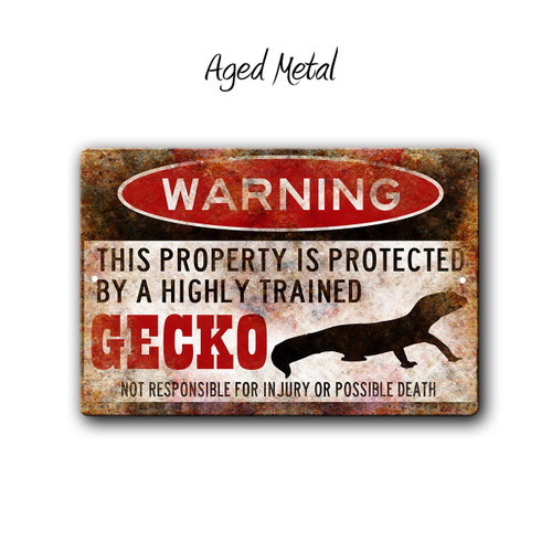 Warning, Property Protected By a Gecko Metal sign, Aged Metal Style | Blue Fox Gifts