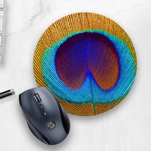 Beautiful Peacock Feather Printed Round Mouse Pad, cropped photo | Blue Fox Gifts