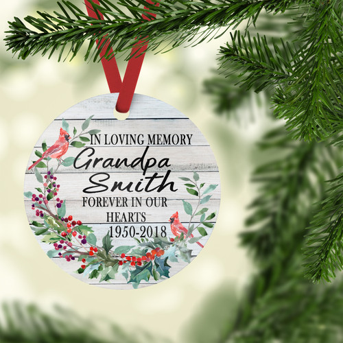 Personalized Memorial ornament With Wreath and Cardinal - Red Ribbon | Blue Fox Gifts