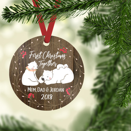 First Christmas Together Faux wood Ornament with Bear Family, Red Ribbon | Blue Fox Gifts