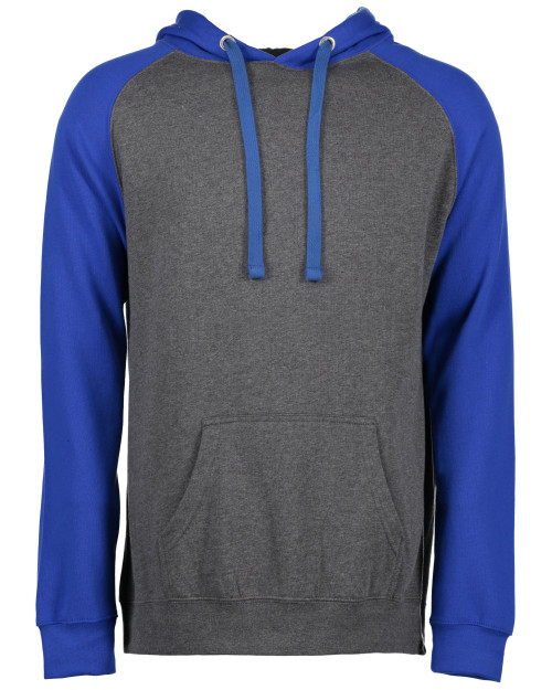 Enza® Unisex Colorblock Fleece Pullover Hood, Dark Heather/Royal Blue | Blue Fox Gifts