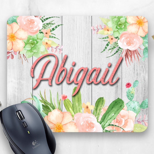 Personalized Floral Succulent Mouse Pad | Blue Fox Gifts