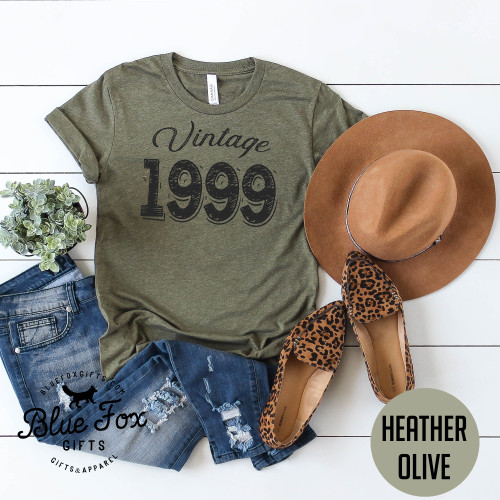 Vintage 1999, 21st Birthday Shirt, Olive | Blue Fox Gifts