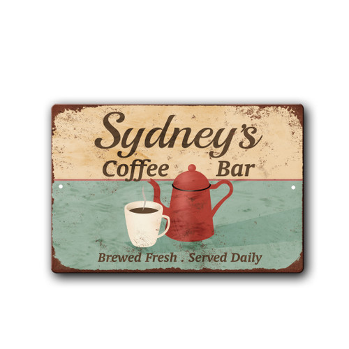 Personalized Vintage Coffee Bar sign | Blue Fox Gifts