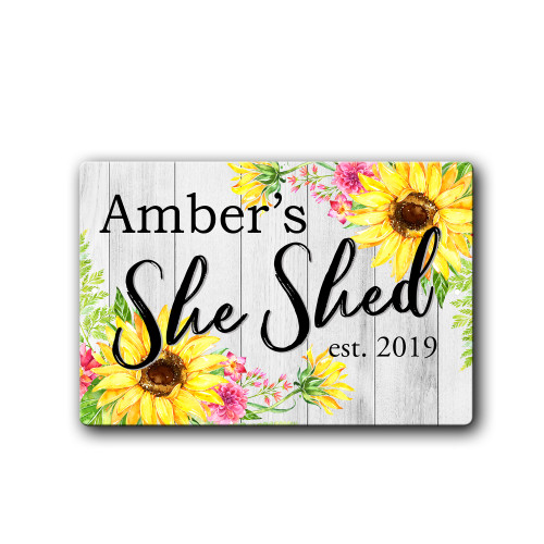 Personalized Floral She Shed sign | Blue Fox Gifts
