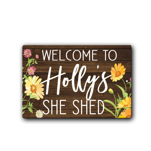 Personalized Yellow Floral She Shed sign | Blue Fox Gifts
