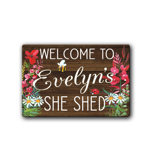 Personalized Pink Floral She Shed sign | Blue Fox Gifts