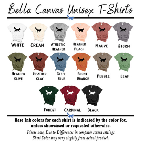 Bella Canvas Unisex T-Shirt Color Chart | Blue Fox Gifts