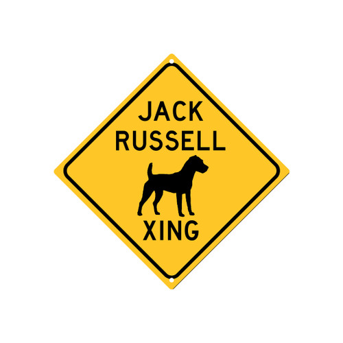 Jack Russell Xing Sign, Aluminum Caution Sign, New Style | Blue Fox Gifts
