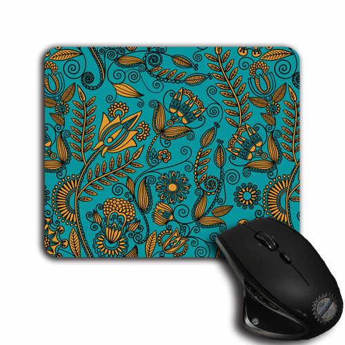 Teal and Gold Floral Design, cloth top, rubber backed Mouse Pad | Blue fox Gifts