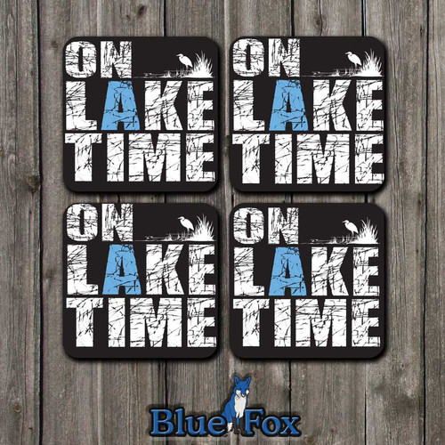 On Lake Time Wood Coaster Set(4) By Blue Fox Gifts