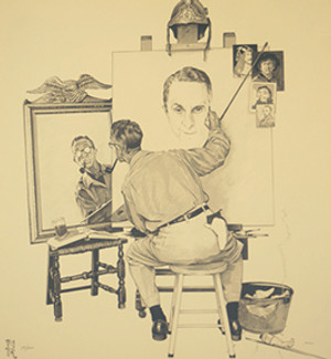 AGES OF LOVE SUITE: TRIPLE SELF PORTRAIT BY NORMAN ROCKWELL