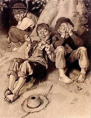 TOM SAWYER SMOKING BY NORMAN ROCKWELL