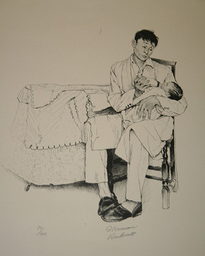 TWO O'CLOCK FEEDING BY NORMAN ROCKWELL