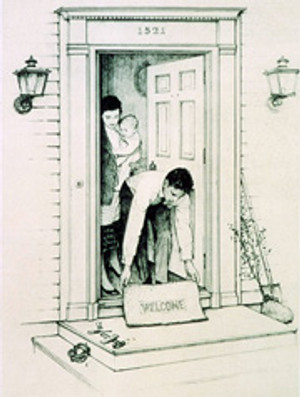 WELCOME MAT BY NORMAN ROCKWELL