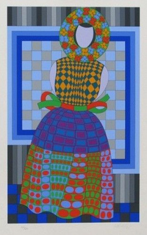 FILLE FLEUR (WHITE) BY VICTOR VASARELY