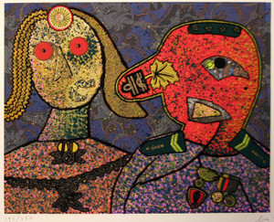 GENERAL DADA AND ONE OF HIS WIVES BY ENRICO BAJ
