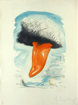 TONGUE CLOUD OVER LONDON, WITH THAMES BALL BY CLAES OLDENBURG