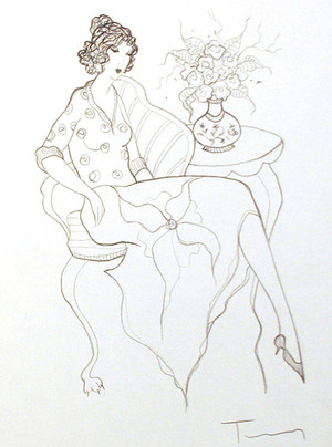 WOMAN WITH FLOWERS BY ITZCHAK TARKAY