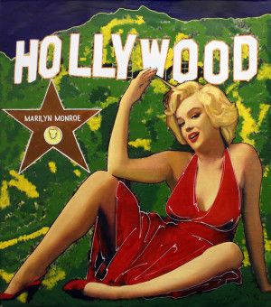 MARILYN IN RED GOES TO HOLLYWOOD BY STEVE KAUFMAN